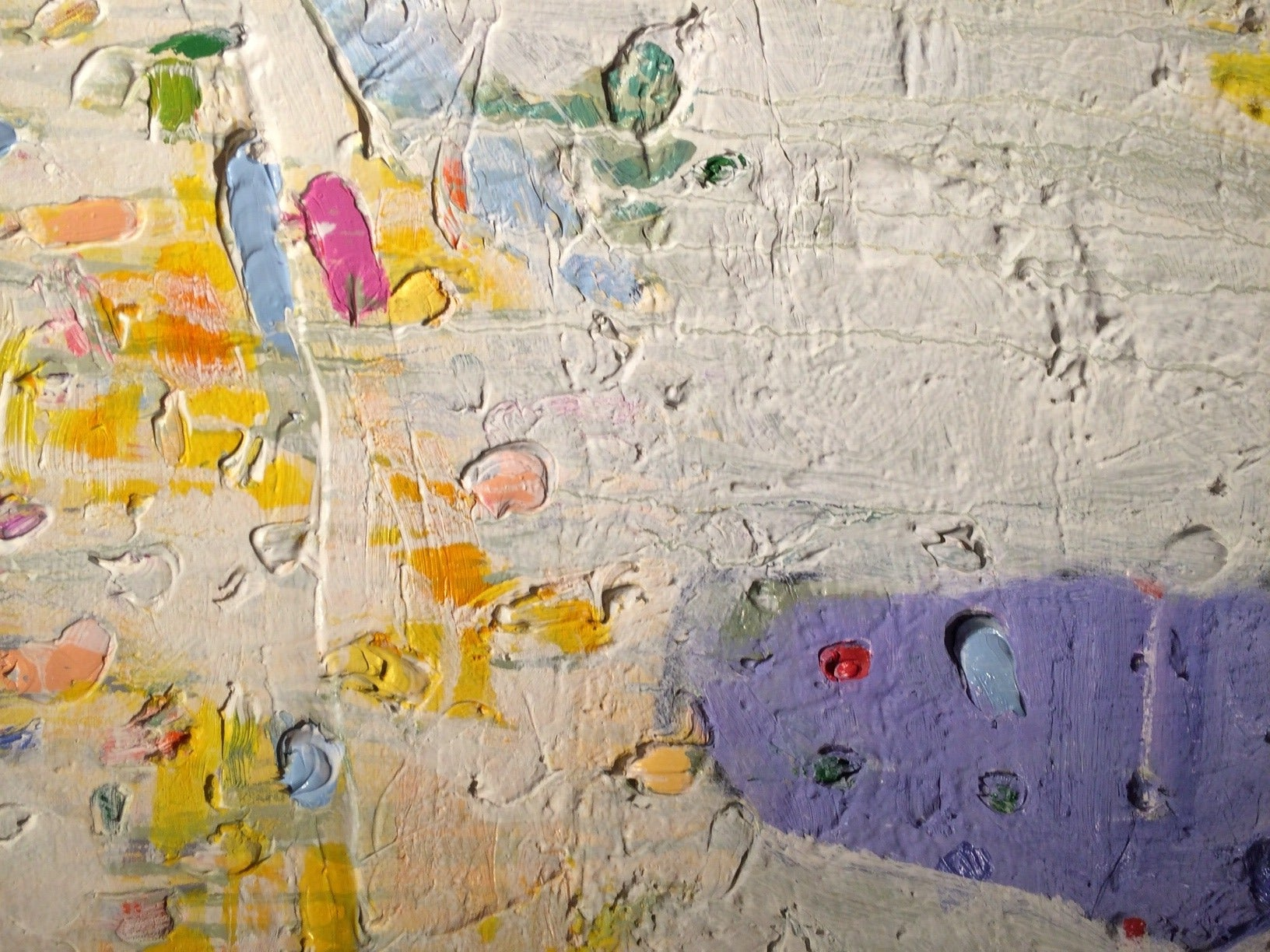 This diptych abstract painting is all about its texture, movement, and vibrant colors. (Blue, Orange, Yellow, White, Grey)  David Miller lives and works near Saratoga Springs, NY where he formerly taught painting at Skidmore College. He has