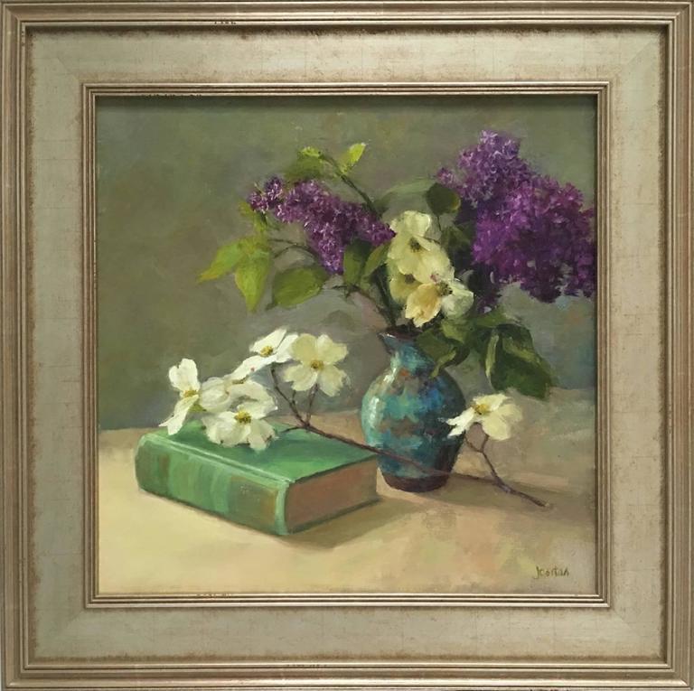 May Blossoms - Gray Still-Life Painting by Susan Jositas