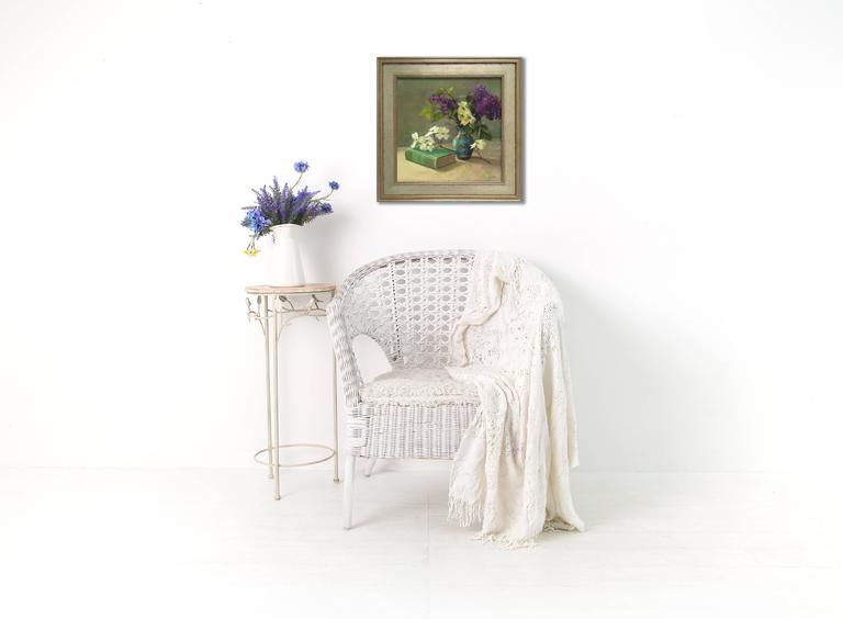 book, lilacs, dogwood, white flowers, vase, flowers, still life  ABOUT SUSAN JOSITAS  A Connecticut native, Susan Jositas began painting full-time in 2000. Jositas enjoys painting in a number of locations including Nantucket, Connecticut and