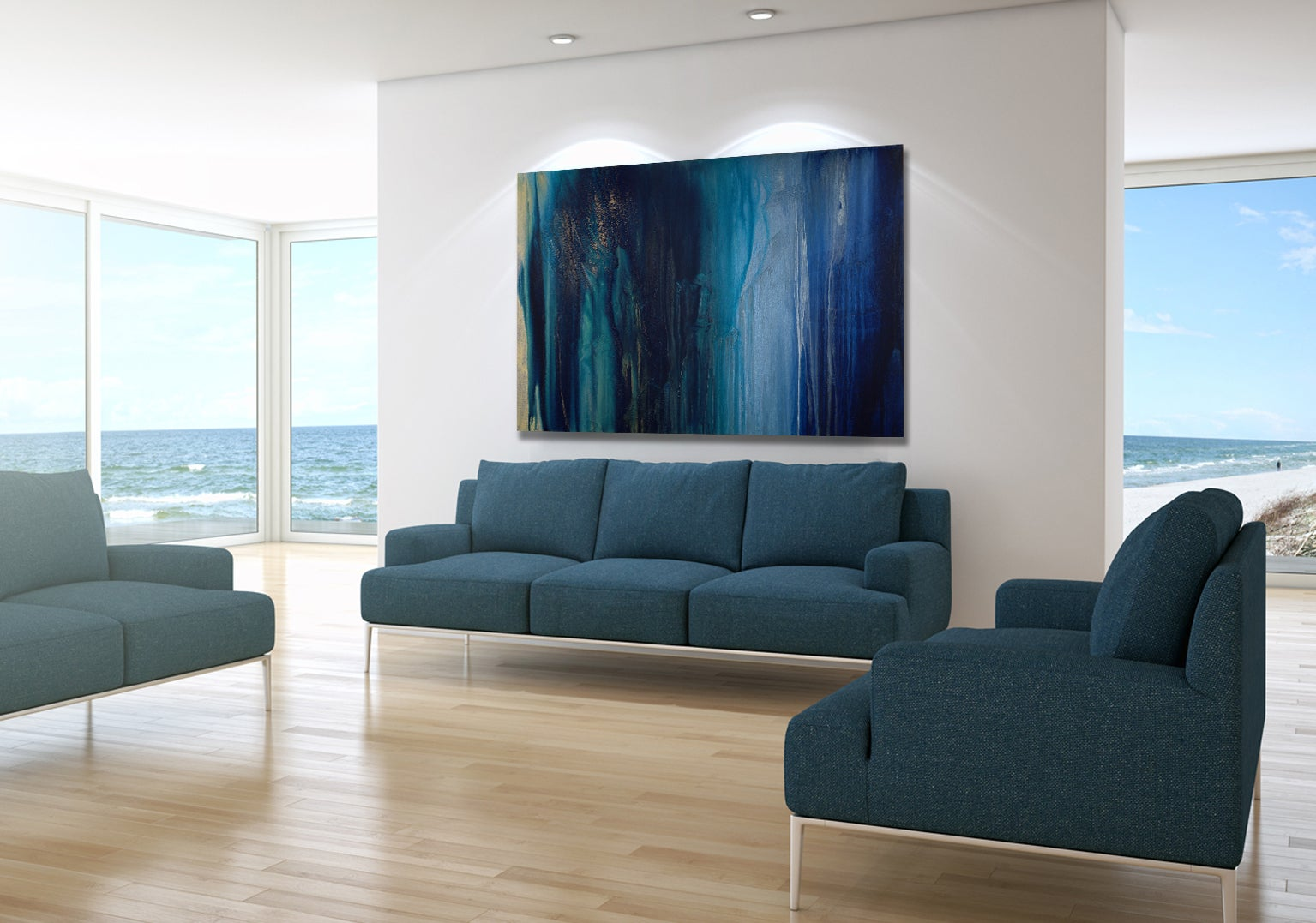 'Emeralds & Sapphires', Large Contemporary Abstract Minimalist Acrylic Painting