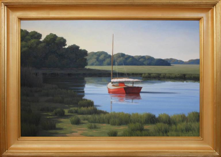 'Taking a Break', Cape Cod Modern Impressionist Marine Oil Painting - Black Landscape Painting by Ronald Tinney