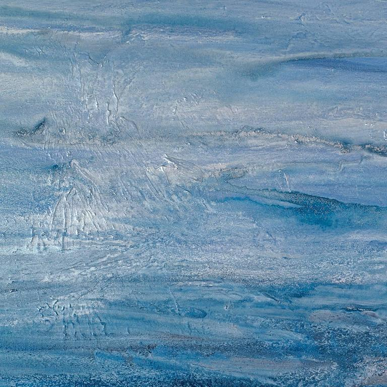 Coastal abstract, sea, ocean, relaxing, calm, tranquil, water, movement, blue, silver, shimmer, white, layers, texture, living room, dining room, office, contemporary, minimalist, modern  Teodora Guererra received her Bachelor of Arts in Art