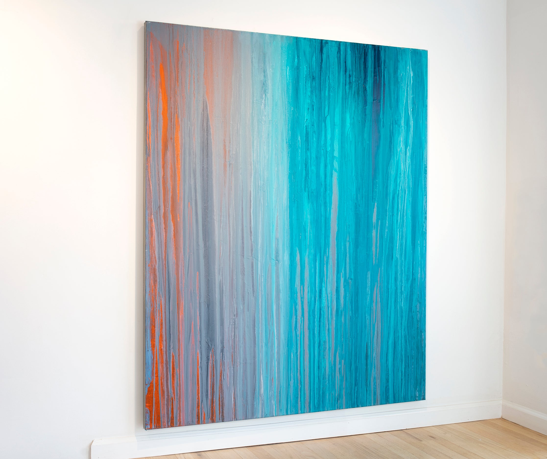 'Drenched in Teal', Large Contemporary Abstract Minimalist Acrylic Painting
