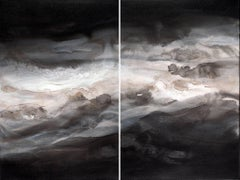 'Smoky Eyes (Diptych)', Contemporary Abstract Smoke-Inspired Acrylic Painting