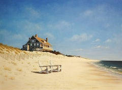 'Mid Day at East Hampton Beach', Contemporary Realist Marine Oil Painting