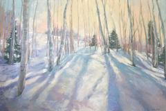 'Waning Winter Light', Contemporary Impressionist Landscape Oil Painting