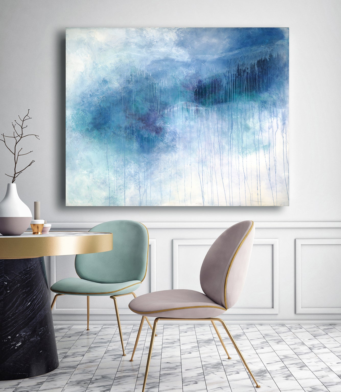 'Aspen Snow' Large Contemporary Abstract Minimalist Acrylic Painting