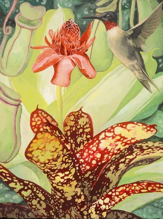 8baea9bcc Laurie Flaherty - 'Visitation', Contemporary Flora and Fauna Gouache ...
