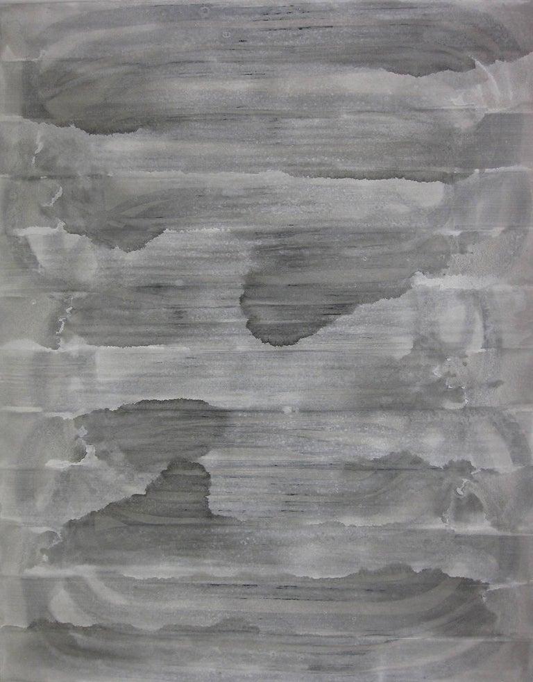 Kiyoshi Otsuka Abstract Painting - 'Sado Island', Black and White Abstract minimalist Japanese painting