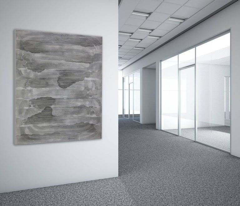 'Sado Island', Black and White Abstract minimalist Japanese painting - Gray Abstract Painting by Kiyoshi Otsuka