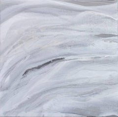 'Silver Fragments I'  Medium Contemporary Abstract Acrylic Painting