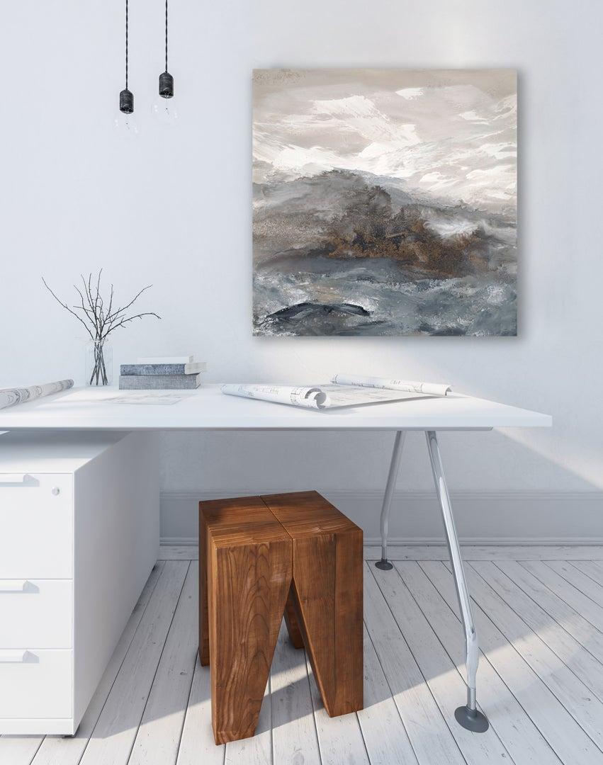 'Warm Grey I'  Medium Contemporary Abstract Acrylic Painting