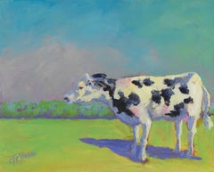 'Just Grazin'', Small Bold Contemporary Transitional Acrylic Painting