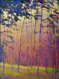 'Light Effects', Large Transitional Colorful Landscape Oil Painting