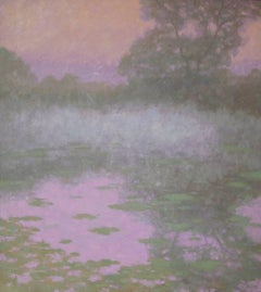'Lily Pond, Fog', Abstract Contemporary Landscape Acrylic Painting