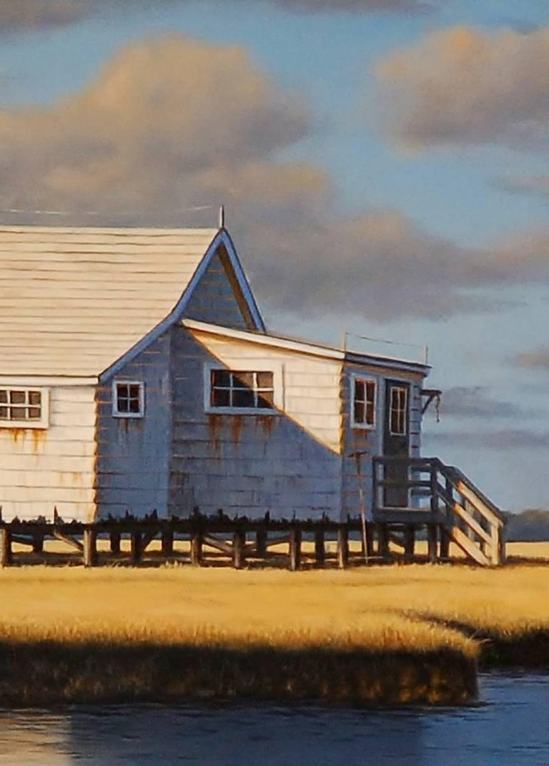 The Smith's Bay House - Blue Landscape Painting by Daniel Pollera