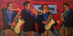 'Jazz Quartet', Bold Graphic Contemporary Jazz Band Oil Painting