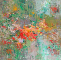 'Into His Love', large abstract red and green oil painting