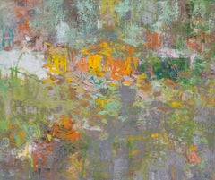 'Limelight Dreams', large water lily-like abstract oil painting