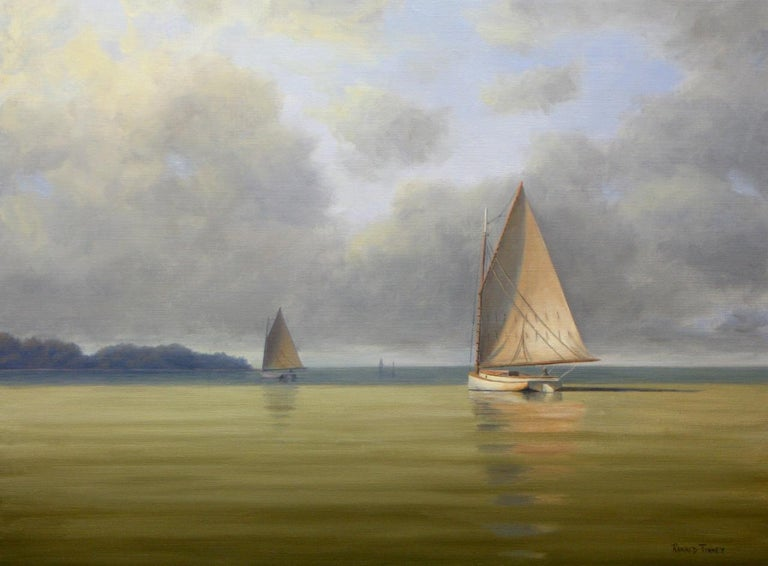 Ronald Tinney Landscape Painting - 'Calm Before the Storm', Cape Cod Modern Impressionist Marine Oil Painting