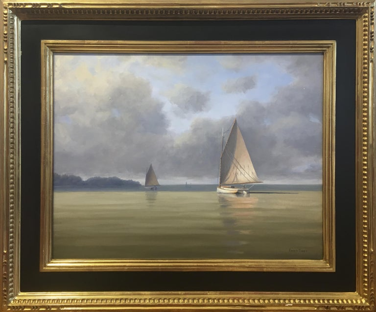 'Calm Before the Storm', Cape Cod Modern Impressionist Marine Oil Painting - Gray Landscape Painting by Ronald Tinney