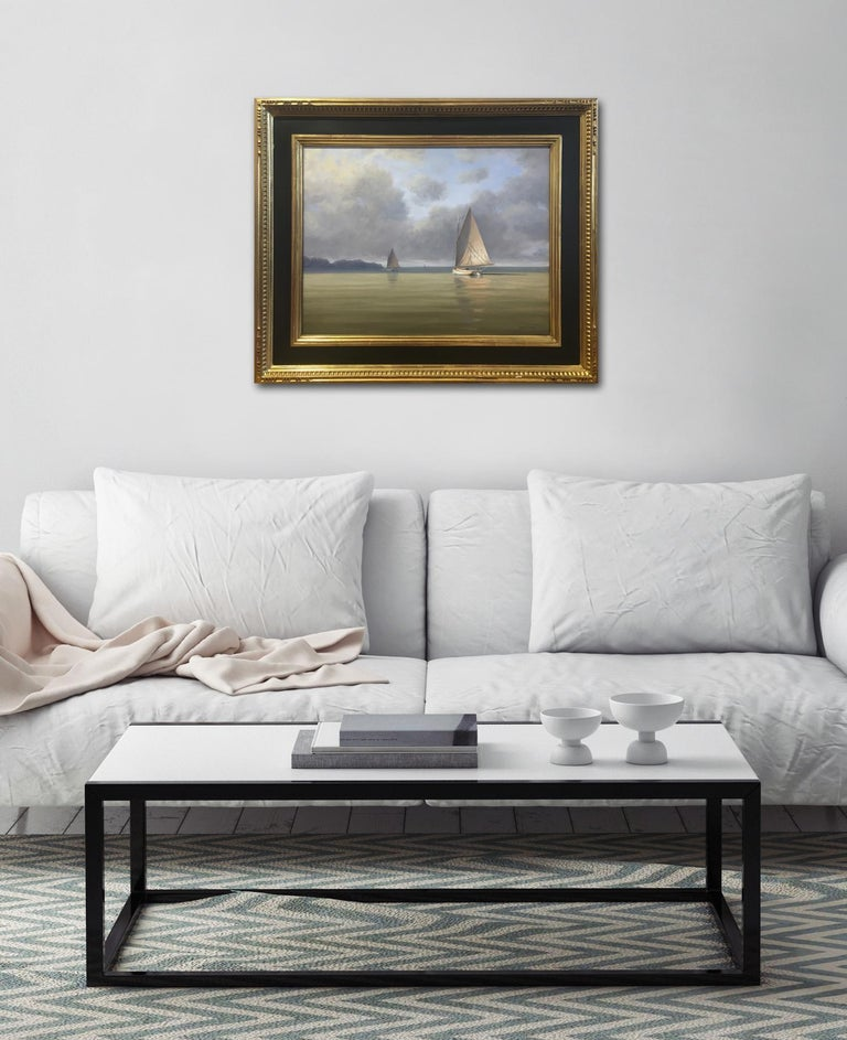 'Calm Before the Storm', Cape Cod Modern Impressionist Marine Oil Painting For Sale 4