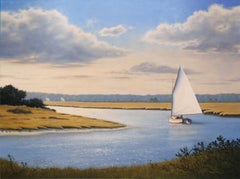 'Sailors Creek', large oil painting with sailboat in blue water