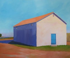 'Cantaloupe and Coastline' Large Bold Contemporary Barn Acrylic Painting