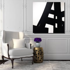 'High Rise', Black and White Contemporary Abstract Minimal Painting