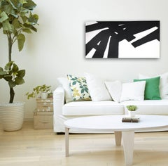 'Flying In The Sky', Black and White Modern Contemporary Abstract Painting