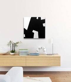 'Eiffel', Black and White Abstract Modern Minimalist Painting