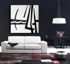 'Cruisin', Black and White Abstract Modern Contemporary Minimalist Painting