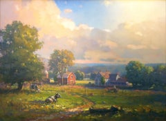 'New England Farm', traditional, impressionist, landscape painting in oil