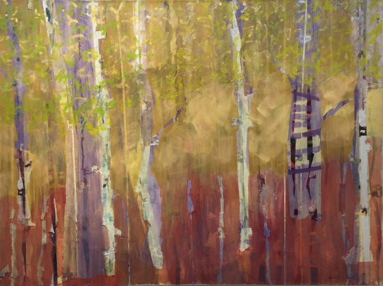"Christine Averill-Green Abstract Painting - ""Treehouse in the Birches"". Contemporary Transitional Landscape Oil Painting"