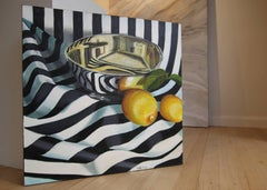 """Tipsy Stripes"", Contemporary Graphic High-Contrast Still Life Oil Painting"