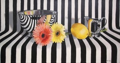 """Silver Bowl, Flowers and Lemon"", Contemporary Graphic Still-Life Oil Painting"