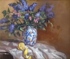'Lilacs', Contemporary Impressionist Still-Life Oil Painting