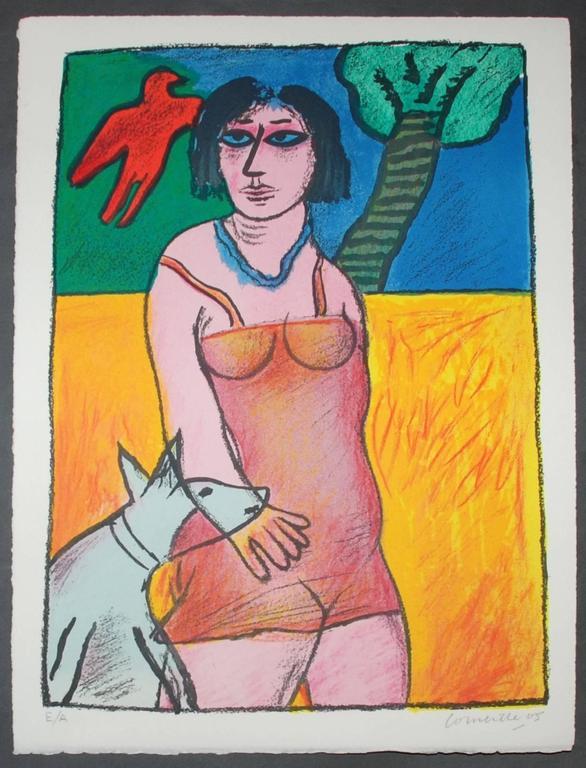 L'oiseau rouge et le chien - Orange Figurative Print by Corneille