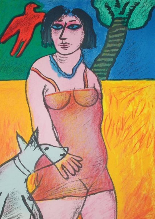 L'oiseau rouge et le chien - Print by Corneille