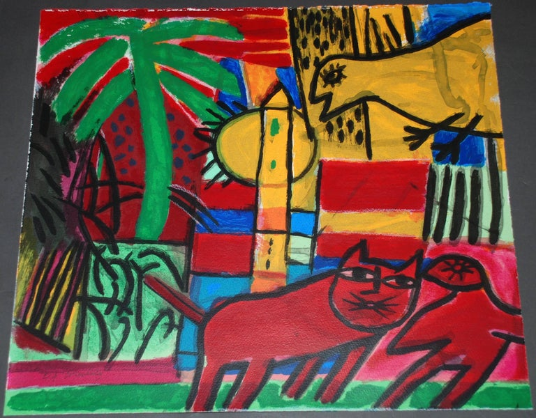 Artist: Corneille Medium: Original lithograph Title: Le Chat Rouge Year: 1996 Edition: E/A Framed Size: 25 7/8 x 23 7/8 inches Sheet Size: 19 1/2 x 17 1/2 inches Signed: Hand signed