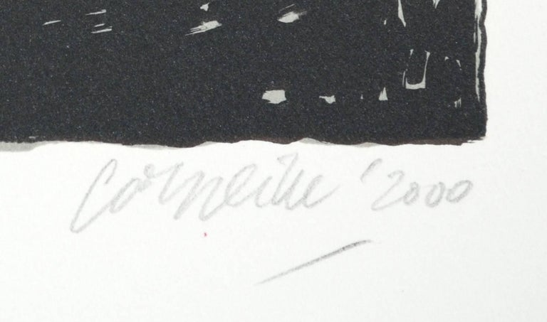 Artist: Corneille Medium: Original lithograph Title: Le Chat Noir Year: 2000 Edition: EA 29/30 Framed Size: 22 1/2 x 25 1/2 inches Image Size: 16 1/2 x 13 3/4 inches Sheet Size: 22 1/2 x 19 1/4 inches Signed: Hand signed
