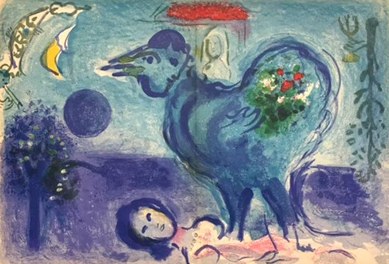 Marc Chagall Animal Print - Paysage Au Coq (Landscape with Rooster)