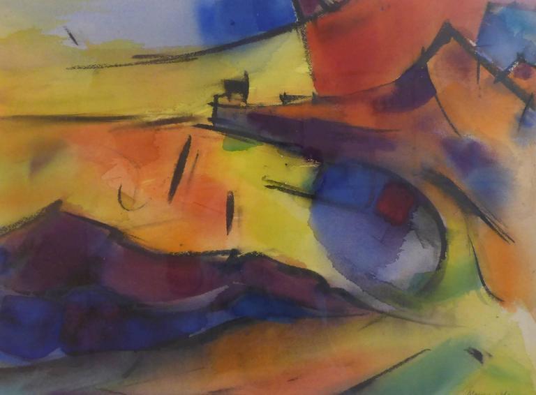 Alex Minewski Abstract Painting - Monhegan Dock