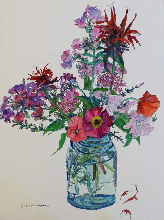 Bee Balm and Poppies in Glass Jar