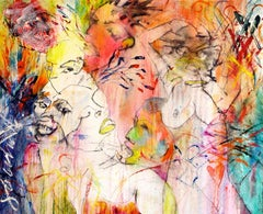 THEY SPEAK NO EVIL - abstract orange, blue and yellow painting with figures