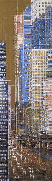 Katie Metz Landscape Painting - City Connections 17