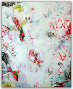 NO THING - white abstract painting with symbols