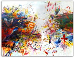 SYMBOLIC WIND - large colorful abstract painting with symbols