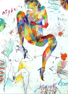 MAYBE, MAYBE NOT - colorful abstract painting with nude figure