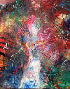 ALPHABET FEAR - large colorful abstract painting